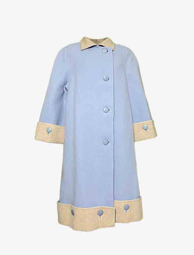 jun ashida ジュンアシダ 水色 ベージュ バイカラー コート