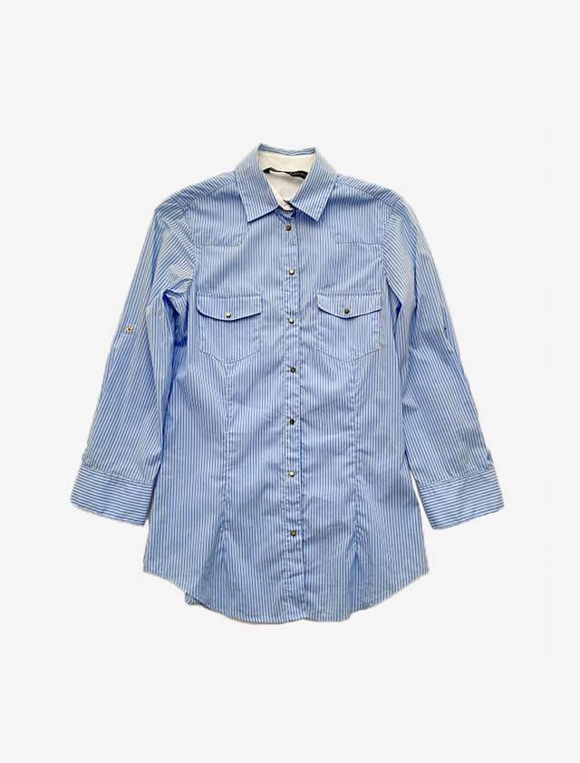 ブルー ストライプ シャツ