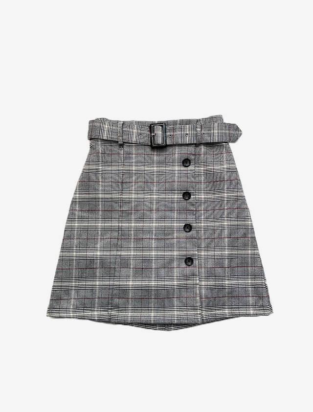チェック柄 ベルト付き スカート