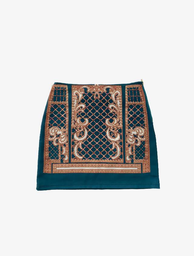 スカーフ モチーフ グリーン スカート