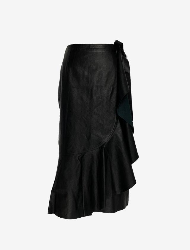 HELMUT LANG レザー ドレープスカート